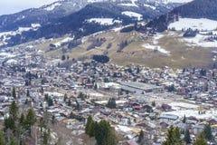Villaggio svizzero nell'inverno Immagine Stock Libera da Diritti