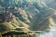 Villaggio a terrazze al crepuscolo Fotografia Stock Libera da Diritti