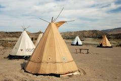 Villaggio tradizionale del teepee Immagini Stock Libere da Diritti