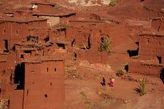 Villaggio tradizionale di berberi in alto atlante Fotografia Stock