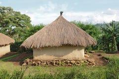 Villaggio tradizionale vicino alle montagne di Rwenzori fotografia stock