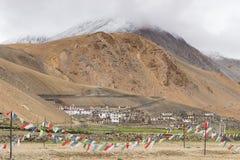 Villaggio in una mattina, Tsomoriri, Leh, Ladakkh, India di Karzok Fotografia Stock