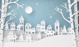 Villaggio urbano della città del paesaggio della campagna della neve di inverno Fotografia Stock