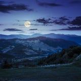 Villaggio vicino alla foresta in alte montagne alla notte Fotografia Stock Libera da Diritti
