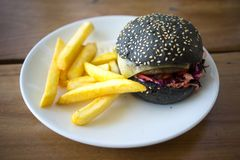 Villain Burger And Chips Royalty Free Stock Images