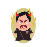 Villain Devil Frowning Avatar of Little Person Cartoon Character in Flat Vector Royalty Free Stock Image