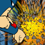 Villain exploding a building Stock Photography