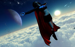 Villain Supergirl Character Flying Royalty Free Stock Images