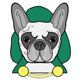 Villain symbol with hood, cape  witch gold chains , in green, yellow, and gray as French bulldog character on white background Stock Images