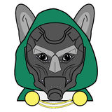 Villain symbol with hood, metal mask  and cape  witch chains , in green, yellow, and gray as French bulldog character Stock Photography