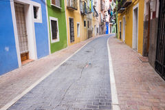Villajoyosa街,肋前缘布朗卡,西班牙 免版税图库摄影