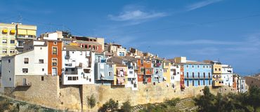 Villajoyosa Fishing Town. A view of the typical coloured houses of Villajoyosa Royalty Free Stock Photography