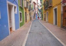 Villajoyosa ulica, Costa Blanca, Hiszpania Zdjęcie Stock