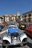 Villalago, Italy, 08/05/2018. Vintage car rally in Villalago, a town in the Abruzzo region royalty free stock photos