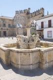 Villalar arc,Jaen gate and Lions fountain, Populo square, Baeza,. Jaen, Spain Royalty Free Stock Photography
