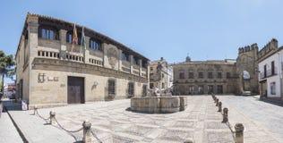 Villalar arc,Jaen gate and Lions fountain, Populo square, Baeza,. Villalar arc, Jaen gate and Lions fountain, Populo square, Baeza, Jaen, Spain Stock Images