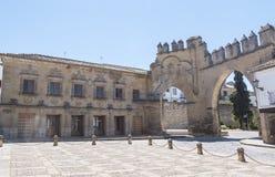 Villalar arc and Jaen gate, Populo square, Baeza, Jaen, Spain.  Stock Images