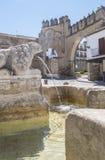 Villalar båge, Jaen port och lejonspringbrunn, Populo fyrkant, Baeza, royaltyfria foton