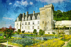 Villandry castle. Picture in painting style Royalty Free Stock Photos