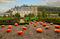 Villandry  castle at fall day, France Royalty Free Stock Images