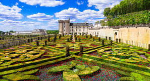Villandry castle with outstanding gardens. Loire valley, France Stock Photos