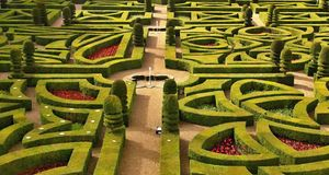 Villandry Castle's garden Royalty Free Stock Photos