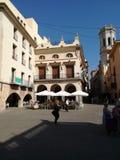 Villareal,西班牙7/12/2018:比亚雷亚尔城镇厅广场  库存照片