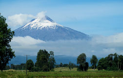 Villarica volcano from the road royalty free stock image