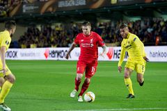 Alberto Moreno plays at the Europa League semifinal match between Villarreal CF and Liverpool FC. VILLARREAL, SPAIN - 28 APR: Alberto Moreno plays at the Europa stock photography