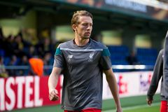 Lucas Leiva warms up prior to the Europa League semifinal match between Villarreal CF and Liverpool FC Royalty Free Stock Photo