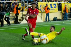 Nathaniel Clyne plays at the Europa League semifinal match between Villarreal CF and Liverpool FC. VILLARREAL, SPAIN - 28 APR: Nathaniel Clyne plays at the stock photography