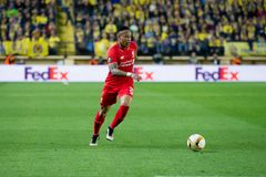 Nathaniel Clyne plays at the Europa League semifinal match between Villarreal CF and Liverpool FC royalty free stock photo
