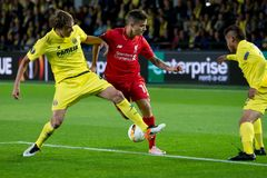 Philippe Coutinho plays at the Europa League semifinal match between Villarreal CF and Liverpool FC Stock Photography