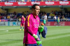 Claudio Bravo warms up prior to the La Liga match between Villarreal CF and FC Barcelona Royalty Free Stock Images