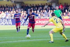 Neymar plays at the La Liga match between Villarreal CF and FC Barcelona at El Madrigal Stadium Royalty Free Stock Images