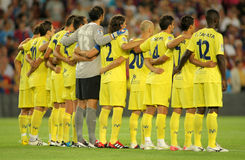 Villarreal team in silence minute. Before a Spanish League match between FC Barcelona vs CF Villarreal at the Nou Camp Stadium on August 29, 2011 in Barcelona Royalty Free Stock Photography