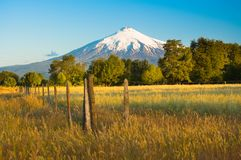 Villarrica Volcano in the Araucania Region at southern Chile. South America stock image