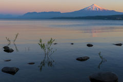 Villarrica volcano at sunset, Chile Royalty Free Stock Image