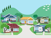 Villas and Bungalow Houses in Suburban Street Royalty Free Stock Photo
