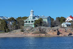 Villas on the coast in Hanko, Finland Royalty Free Stock Photo