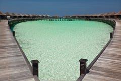 Villas de l'eau en Maldives image libre de droits
