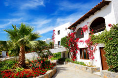 Villas decorated with flowers at luxury hotel Royalty Free Stock Image