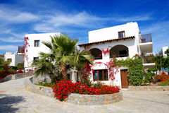 Villas decorated with flowers at luxury hotel Royalty Free Stock Images