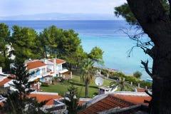 Villas in Greece. Beautiful villas near the sea in Halkidiki, Greece Royalty Free Stock Images