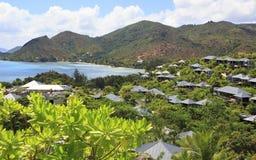 Villas on the hotel Raffles Praslin Seychelles Royalty Free Stock Photos