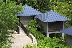 Villas on the hotel Raffles Praslin Seychelles Royalty Free Stock Photo