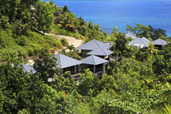 Villas on the hotel Raffles Praslin Seychelles Stock Photos