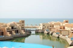 Villas in luxurious hotel. Dubai, United Arab Emirates royalty free stock photos