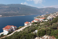 Villas on Mediterranean coast Royalty Free Stock Images