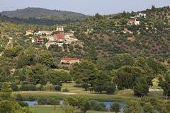 Villas in mountains near Porto Carras Grand Resort Royalty Free Stock Photo